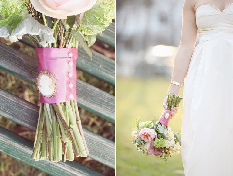 A vintage broach pin was a nice accent to this bride's bright bouquet.