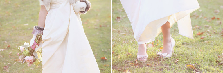 Detail photo of bride's mittens, bouquet, and shoes at a Woodstock Inn Winter wedding.
