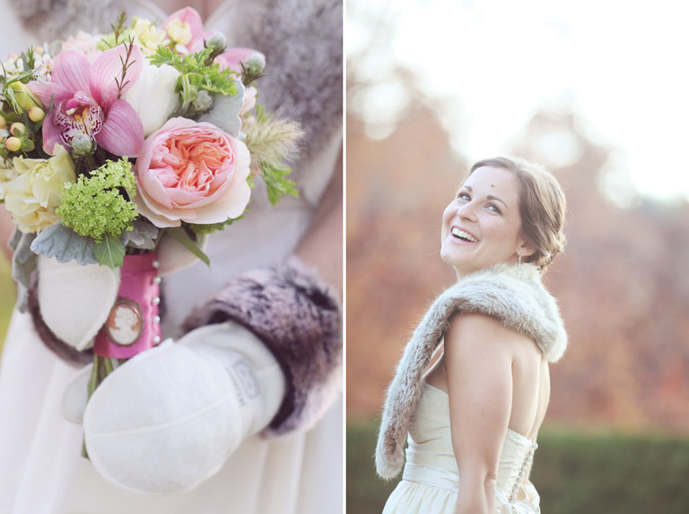 Detail of a bride wearing mittens and holding her bouquet.