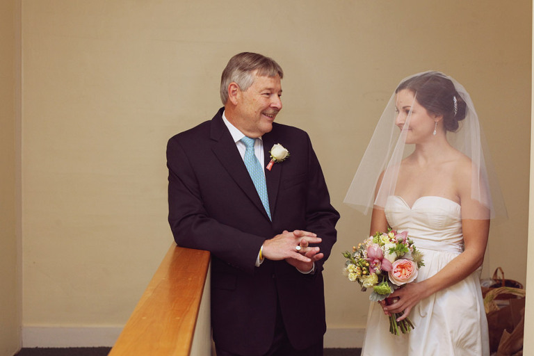 The bride and her father share a nice, quiet moment before a wedding ceremony.
