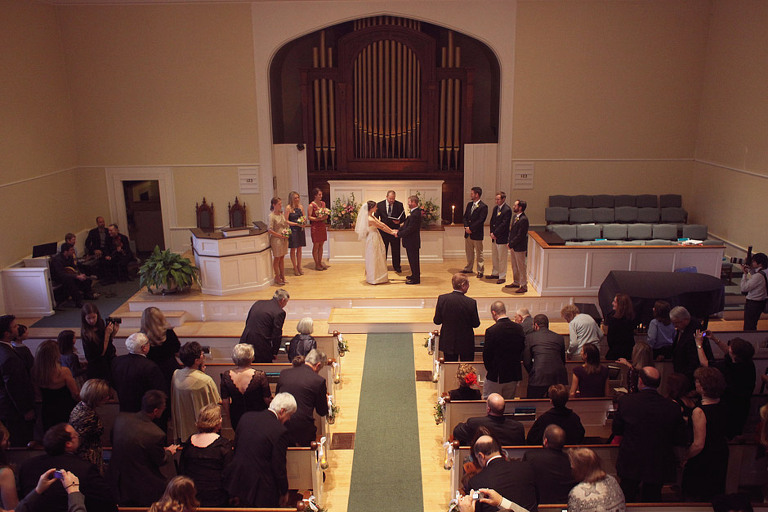 Overview of church wedding held in Woodstock, VT.
