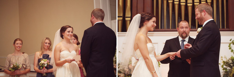 Bride reads vows during their wedding in Woodstock.