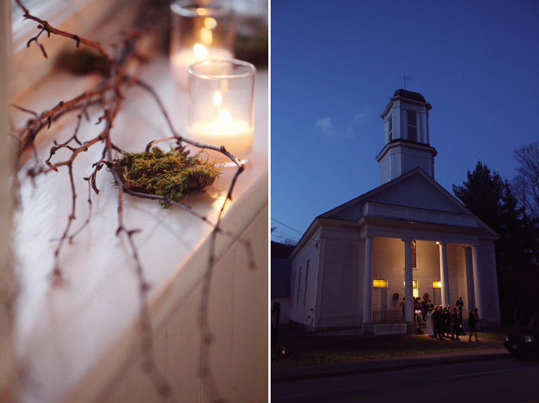Moss and twigs created a natural vibe at the North Universalist Chapel in Woodstock, VT.