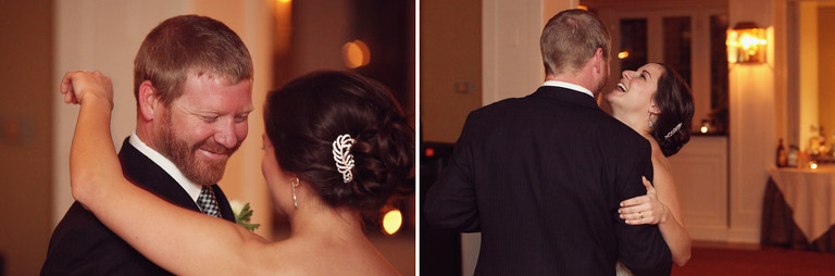 Bride and groom laugh during their first dance at the Woodstock Inn.