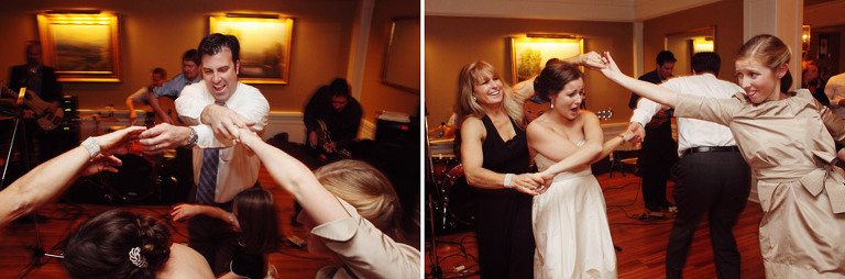 Wedding guests dance to a live band at the Woodstock Inn.