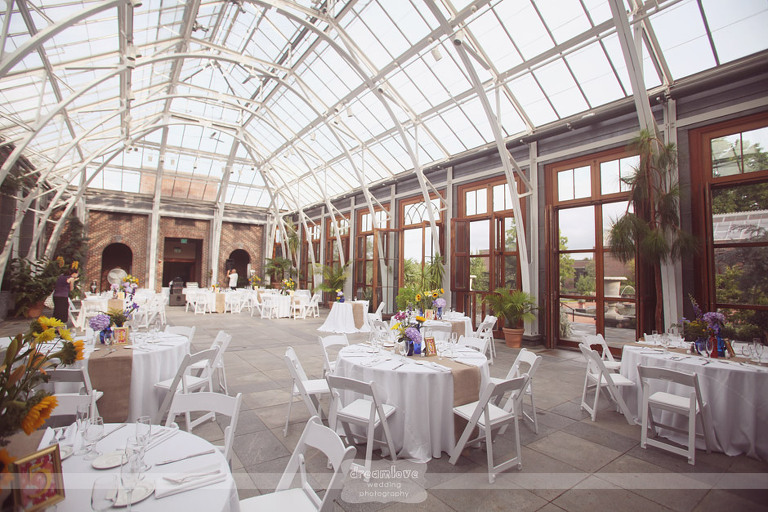Inside Of The Limonaea Greenhouse At The Tower Hill Botanic Garden For A  Summer Wedding Reception