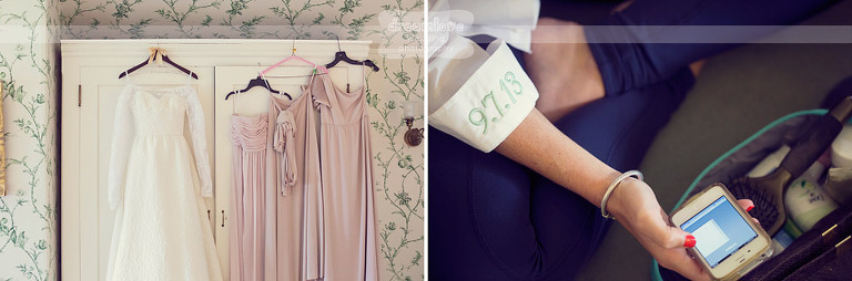 Details of a wedding gown and bridesmaids dresses at Shelburne Farms.