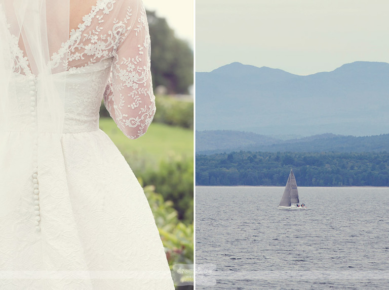 Details of a lace bridal gown and a sailboat on Lake Champlain.
