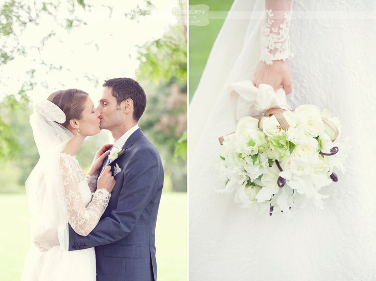 Bride and groom kiss after doing their first look.