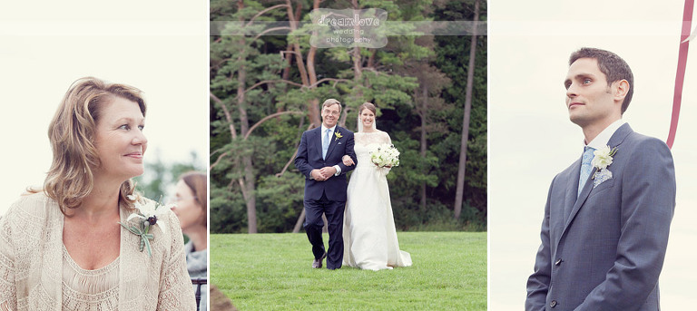 Pictures of a bride's mom and groom watching the bride and her father walk down the aisle.