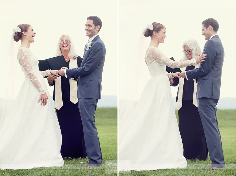Bride and groom smile while reading their vows at Shelburn Farms.