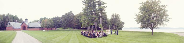 Panoramic view of a Lake Champlain wedding at Shelburne Farms.