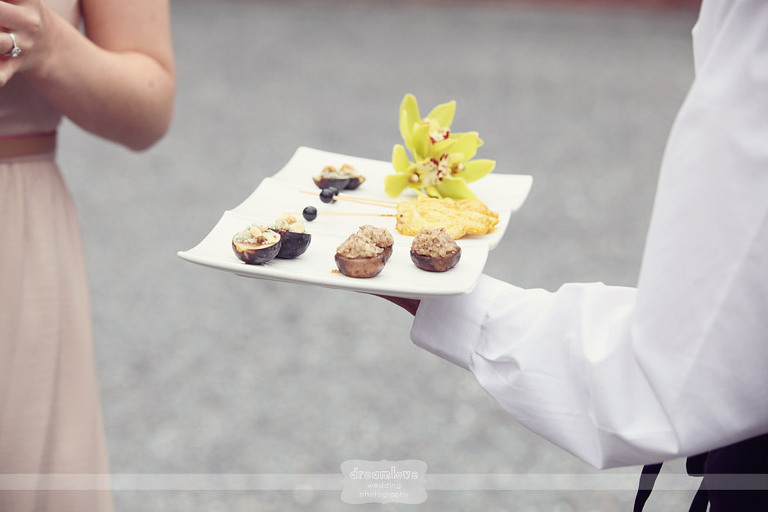A detail of gourmet food being served at the cocktail hour at Shelburne Farms.