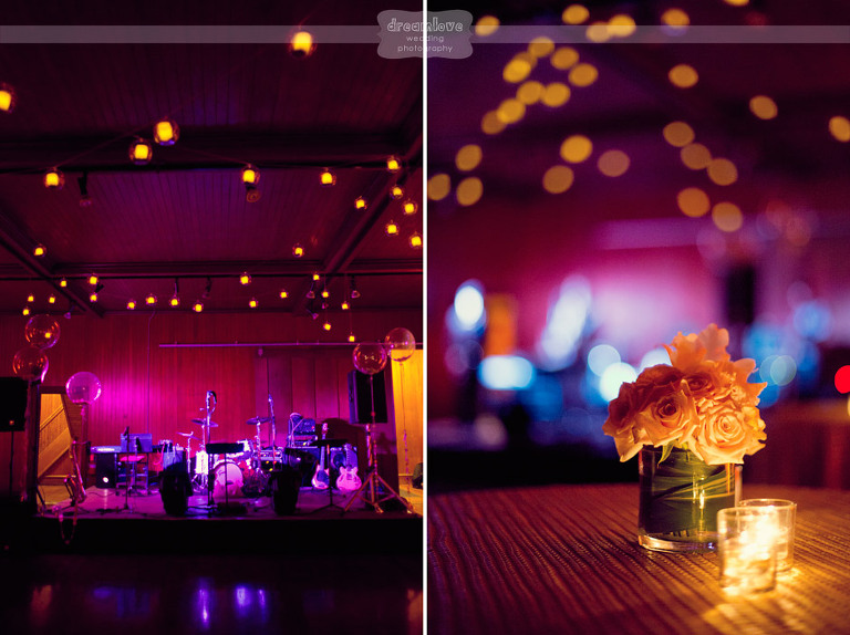 Views of the dance floor and reception decor at the Coach Barn.