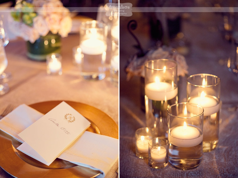 Detail of the floating candles and dinner menu at an elegant Shelburne Farms wedding.