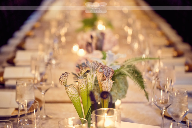 Unique flowers added an accent to the family style tables.