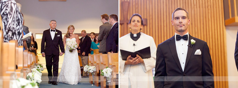 A groom watches as bride walks down the aisle.