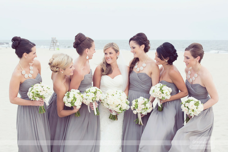 Bridesmaids on the beach outside of the Wychmere Beach Club.