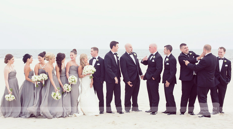 Funny Wychmere wedding photos on the beach outside of the club.