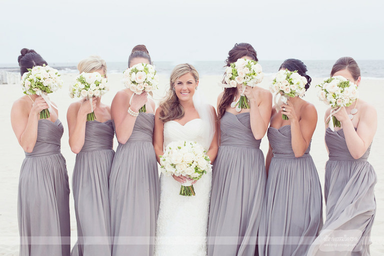 Bridesmaids on the beach at the Wychmere.