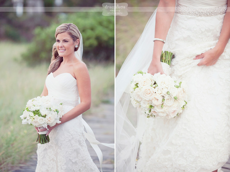 A beautiful bride holding a bouquet on her wedding day at the Wychmere Beach Club.