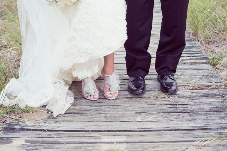 Detail of the couples' wedding day shoes.