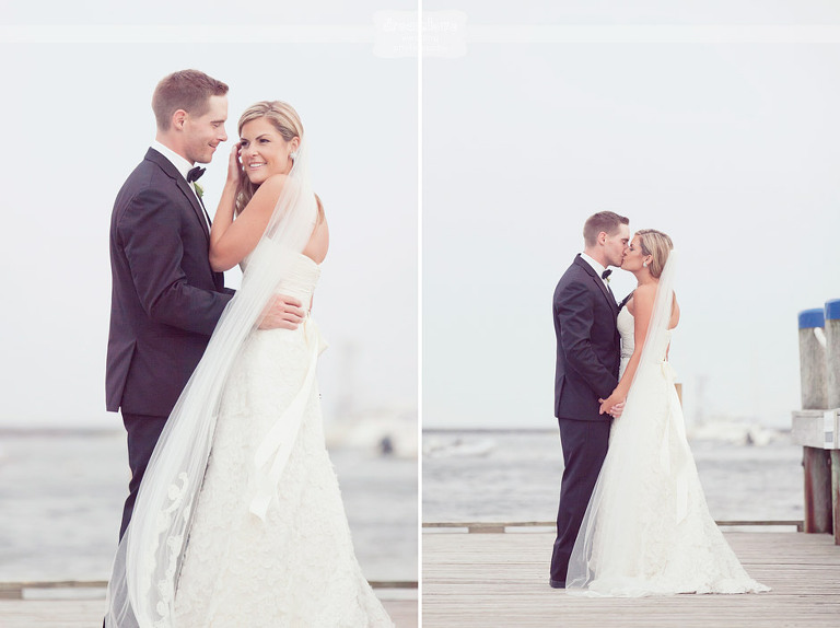 Happy Wychmere wedding photos on the dock outside of the Beach Club.