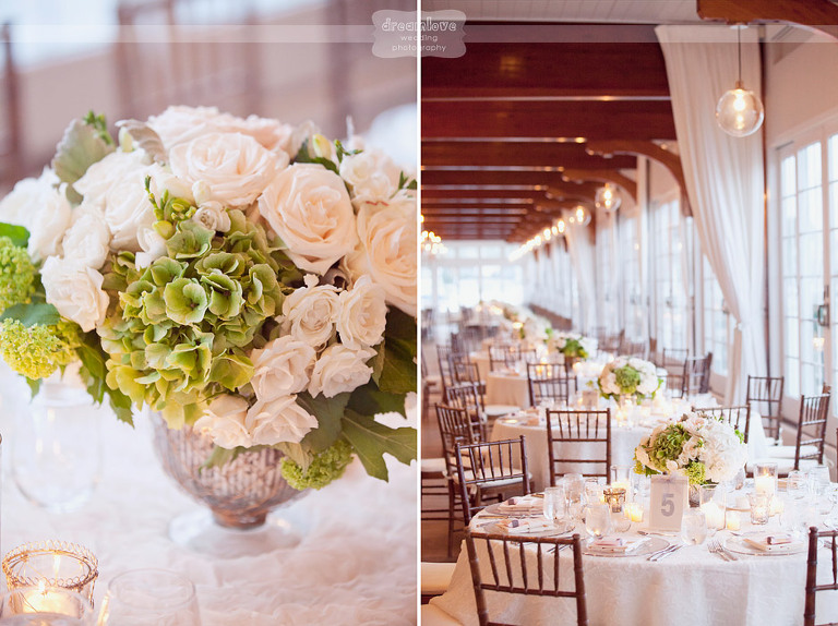 The Wychmere Beach Club offers a stunning reception space. It is surrounded by tall windows with great views of the ocean. The natural light in this room is just spectacular!
