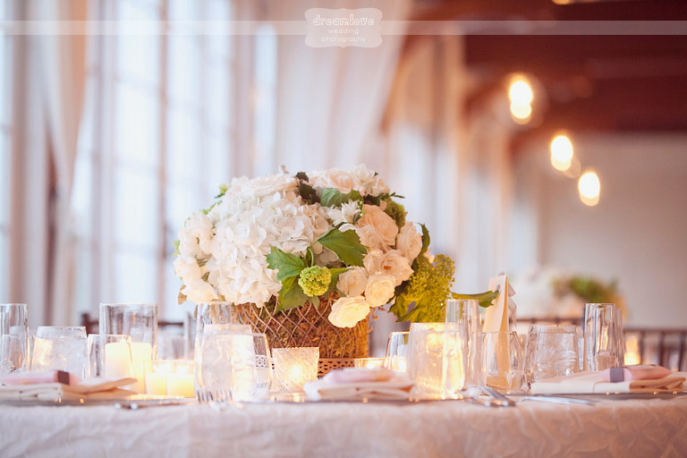 Closeup of the centerpieces at a classic Cape Cod wedding that was held at the Wychmere Beach Club.