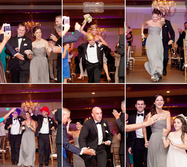 Hilarious photos of the wedding party introductions at a summer wedding hosted at the Wychmere Beach Club.