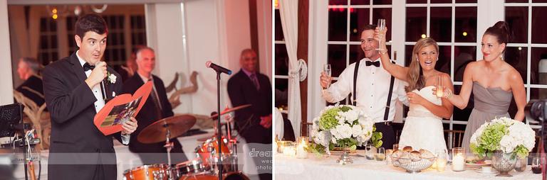 Funny photos during the best man speech.