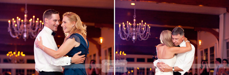 Parent dances during a wedding reception at the Wychmere Beach Club.