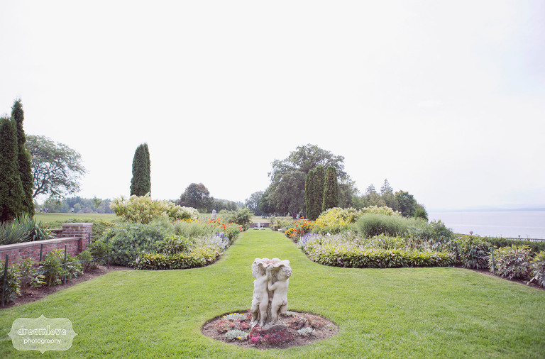 manicured english garden by the lake at shelburne farms