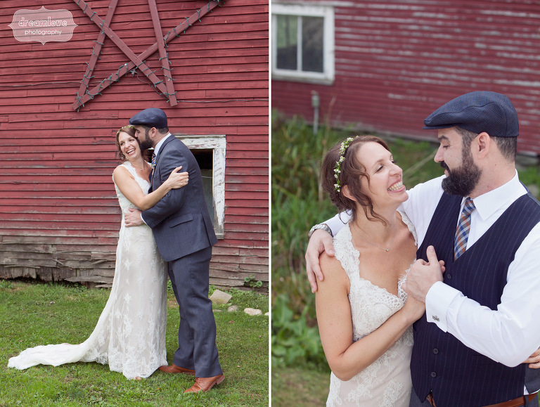 A happy bride and groom see each other before their Vermont wedding.