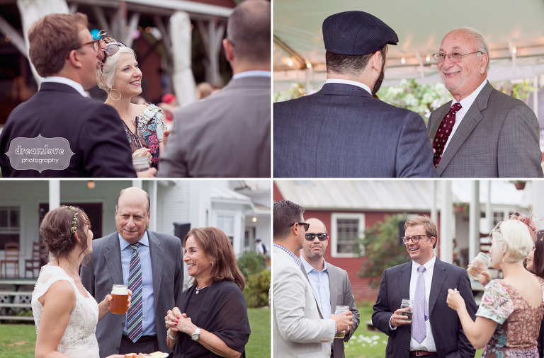 Candid photographs of guests interacting during an outdoor cocktail hour at a Lareau Farm Inn wedding.