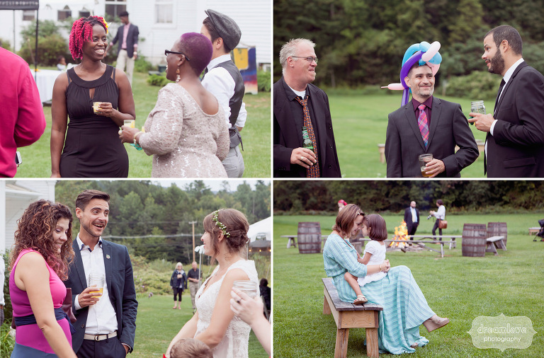 Wedding guests relaxing and having fun during an outdoor wedding reception in Vermont.