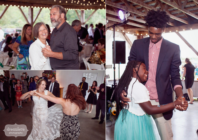 Wedding guests dance and enjoy themselves during a reception at the Lareau Farm Inn.
