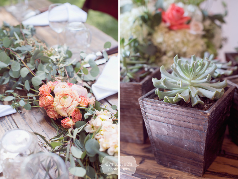 Romantic table setting with greenery runners and roses for outdoor wedding at the 1909 in Topanga.