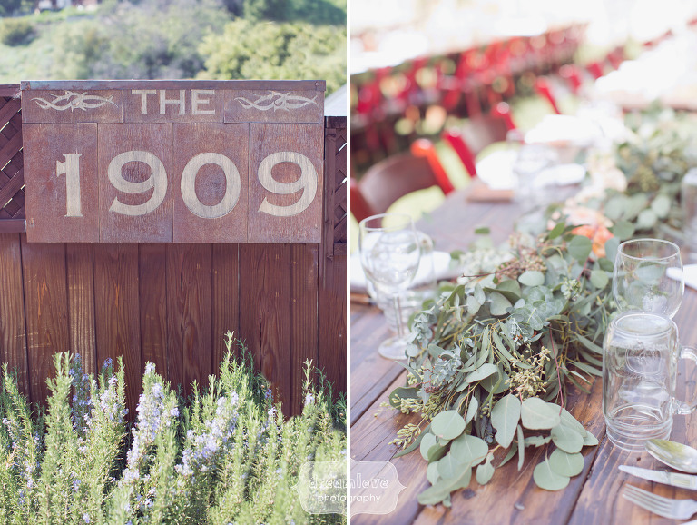 Sign for the 1909 wedding venue in Topanga, CA.