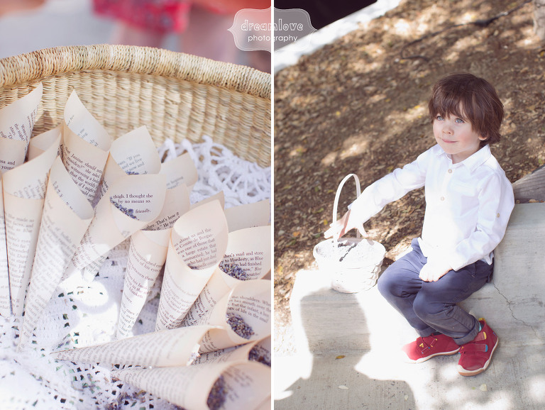 Lavender is handed out to guests in upcycled paper cones from a favorite book, and the flower boy prepares to toss lavender down the aisle.