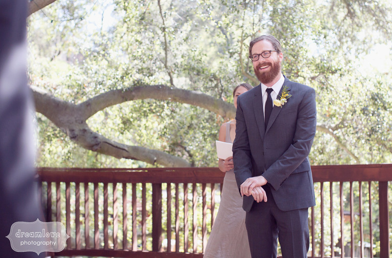 The groom, Chris Barnes, sees his bride for the first time as she walks down the aisle at the 1909 in Topanga, CA.