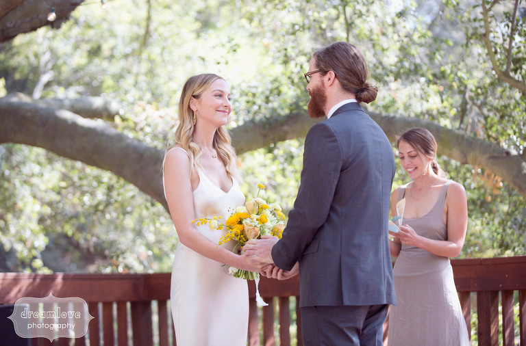 The bride and groom during their outdoor ceremony in Topanga Canyon, CA.