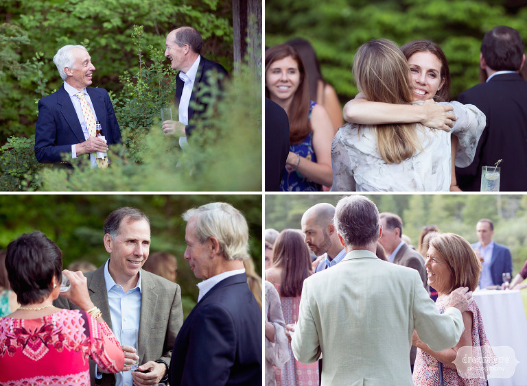 Natural moments of rehearsal dinner guests at the Equinox Pond Pavilion in VT.