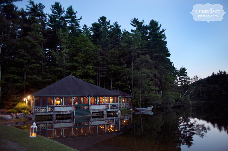 Equinox Pond Pavilion at night for Rehearsal Dinner.