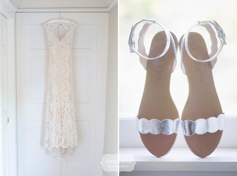 Bride details of dress and shoes at the Equinox Resort in VT.