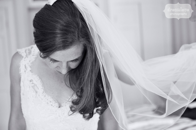 Artistic wedding photo of bride at the Equinox in Manchester, VT.