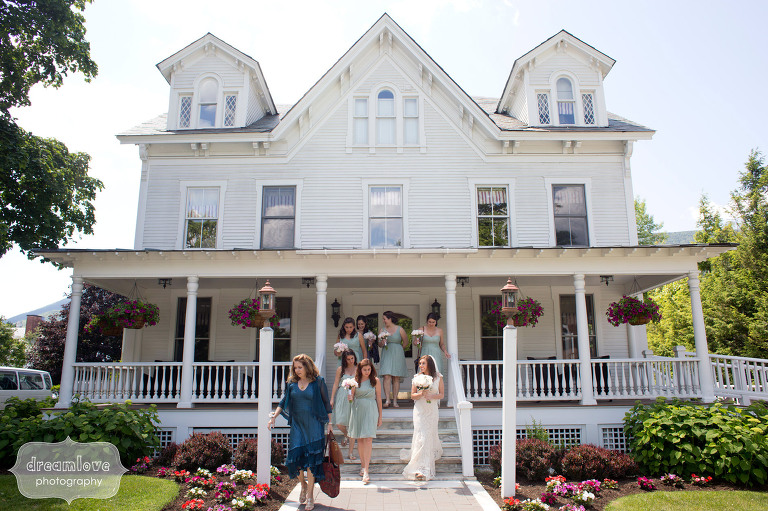 Bridal party leaving the Charles Orvis Inn on the wedding day in VT.