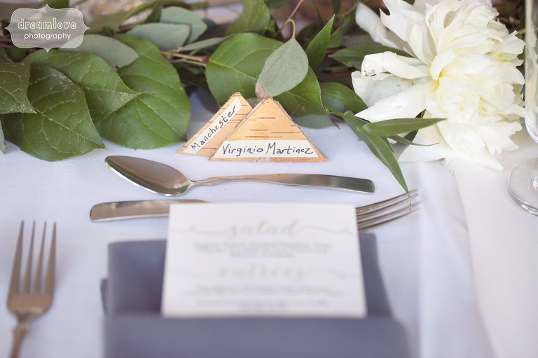 Birch place cards at wedding reception at the Hildene in VT.
