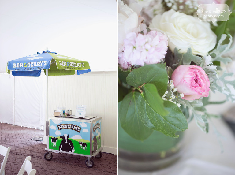Ben and Jerry's cart set up in the tent at the Hildene for a summer wedding in VT.