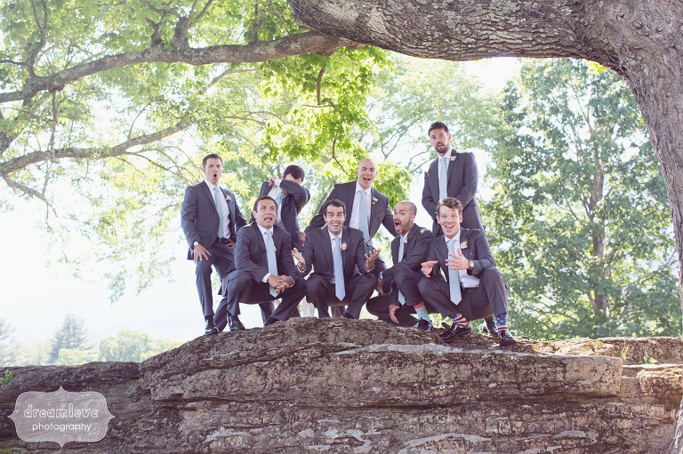 Funny groomsmen photo at the estate wedding venue at the Hildene in VT.